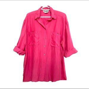 Vintage 90s 100% Silk Blouse Neon Pink Flowy Fit L